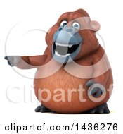 Clipart Of A 3d Orangutan Monkey Mascot Pointing On A White Background Royalty Free Illustration by Julos
