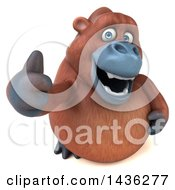 Clipart Of A 3d Orangutan Monkey Mascot Giving A Thumb Up On A White Background Royalty Free Illustration by Julos