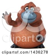 Clipart Of A 3d Orangutan Monkey Mascot Waving On A White Background Royalty Free Illustration