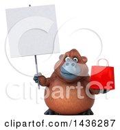 3d Orangutan Monkey Mascot Holding A Shopping Bag On A White Background