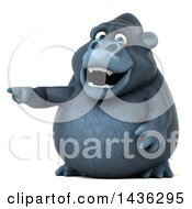 Clipart Of A 3d Gorilla Mascot Pointing On A White Background Royalty Free Illustration by Julos