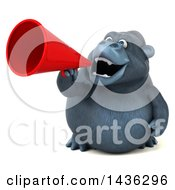 Clipart Of A 3d Gorilla Mascot Using A Megaphone On A White Background Royalty Free Illustration by Julos