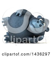 Clipart Of A 3d Gorilla Mascot Resting On His Side On A White Background Royalty Free Illustration by Julos
