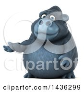 Clipart Of A 3d Gorilla Mascot Presenting On A White Background Royalty Free Illustration by Julos