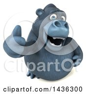 Clipart Of A 3d Gorilla Mascot Giving A Thumb Up On A White Background Royalty Free Illustration by Julos