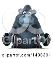 Clipart Of A 3d Gorilla Mascot Working Out With Dumbbells On A White Background Royalty Free Illustration by Julos