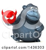 Clipart Of A 3d Gorilla Mascot Holding A Devil Head On A White Background Royalty Free Illustration