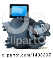 3d Gorilla Mascot Holding A Tablet Computer On A White Background
