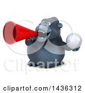 3d Gorilla Mascot Holding A Golf Ball On A White Background