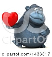 Clipart Of A 3d Gorilla Mascot Holding A Heart On A White Background Royalty Free Illustration