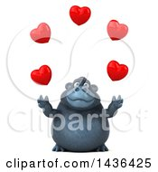 Poster, Art Print Of 3d Gorilla Mascot Juggling Hearts On A White Background