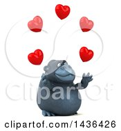 Clipart Of A 3d Gorilla Mascot Juggling Hearts On A White Background Royalty Free Illustration