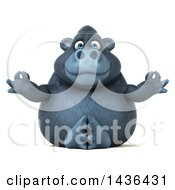 Clipart Of A 3d Gorilla Mascot Meditating On A White Background Royalty Free Illustration