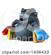 3d Gorilla Mascot Shopping On A White Background
