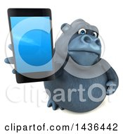 3d Gorilla Mascot Holding A Smart Phone On A White Background