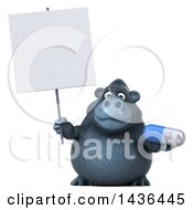 3d Gorilla Mascot Holding A Pill On A White Background