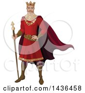 Clipart Of A Caucasian Male King In A Red Robe Royalty Free Vector Illustration by Pushkin
