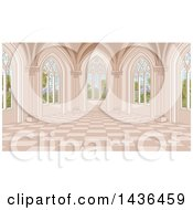 Clipart Of A Medieval Castle Interior With Garden Windows Royalty Free Vector Illustration by Pushkin