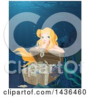 Clipart Of A Pretty Blond Mermaid Opening A Sunken Treasure Chest Royalty Free Vector Illustration by Pushkin