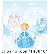 Clipart Of A Happy Red Haired Princess In A Winter Landscape Castle In The Background Royalty Free Vector Illustration by Pushkin