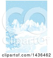 Snowy Winter Landscape With Mountains And Evergreens