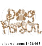 Tan And White Paw Print In The Words Dog Person
