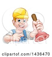 Clipart Of A Cartoon Happy White Male Plumber Holding A Plunger And Pointing Royalty Free Vector Illustration