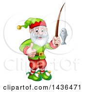 Clipart Of A Happy Garden Gnome Or Christmas Elf Giving A Thumb Up And Fishing Royalty Free Vector Illustration by AtStockIllustration