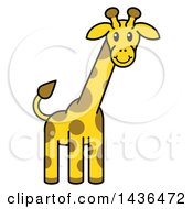 Clipart Of A Cartoon Happy Giraffe Royalty Free Vector Illustration by AtStockIllustration