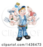 Clipart Of A Cartoon Full Length Happy White Handy Man With Six Arms Holding Tools Royalty Free Vector Illustration