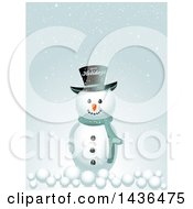 Clipart Of A Snowman With A Happy Holidays Top Hat And Snow Balls Royalty Free Vector Illustration by elaineitalia