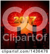 Clipart Of A Firework Burst With New Year 2017 In Gold Over A City Skyline Royalty Free Vector Illustration
