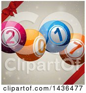 Clipart Of 3d Colorful New Year 2017 Lottery Balls Over Flares And Sparkles With Red Ribbons And A Bow Royalty Free Vector Illustration