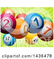 Clipart Of 3d Colorful New Year 2017 Lottery Balls Over Green Royalty Free Vector Illustration