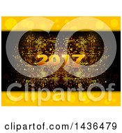 Gold 2017 New Year Numbers Over A Pixel Mosaic With Borders Of Yellow Bubbles Or Flares