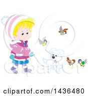 Blond Caucasian Girl In Winter Clothing Walking A Puppy Dog On A Leash With Birds Around