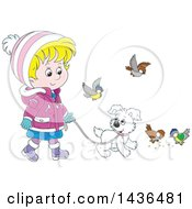 Cartoon Blond White Girl In Winter Clothing Walking A Puppy Dog On A Leash With Birds Around