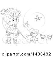 Black And White Lineart Little Girl In Winter Clothing Walking A Puppy Dog On A Leash With Birds Around