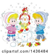 Clipart Of A Cartoon Blond White Brother And Sister Building A Snowman Royalty Free Vector Illustration