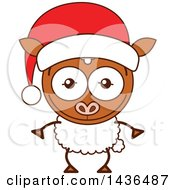 Clipart Of A Cartoon Christmas Sheep Wearing A Santa Hat Royalty Free Vector Illustration by Zooco