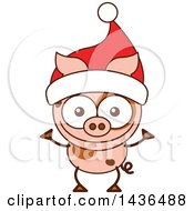 Clipart Of A Cartoon Christmas Pig Wearing A Santa Hat Royalty Free Vector Illustration by Zooco