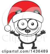 Clipart Of A Cartoon Christmas Panda Wearing A Santa Hat Royalty Free Vector Illustration by Zooco