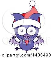 Clipart Of A Cartoon Christmas Vampire Bat Wearing A Santa Hat Royalty Free Vector Illustration by Zooco