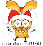 Cartoon Christmas Bunny Rabbit Wearing A Santa Hat