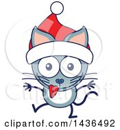 Clipart Of A Cartoon Christmas Kitty Cat Wearing A Santa Hat Royalty Free Vector Illustration by Zooco
