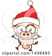 Clipart Of A Cartoon Christmas Cow Wearing A Santa Hat Royalty Free Vector Illustration by Zooco