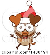 Clipart Of A Cartoon Christmas Dog Wearing A Santa Hat Royalty Free Vector Illustration