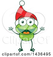 Clipart Of A Cartoon Christmas Frog Wearing A Santa Hat Royalty Free Vector Illustration