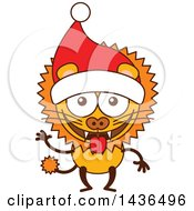 Clipart Of A Cartoon Christmas Lion Wearing A Santa Hat Royalty Free Vector Illustration by Zooco
