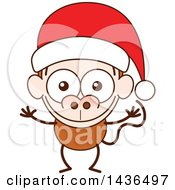 Clipart Of A Cartoon Christmas Monkey Wearing A Santa Hat Royalty Free Vector Illustration by Zooco
